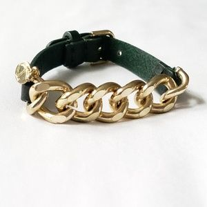 Leather bracelet with gold link chain